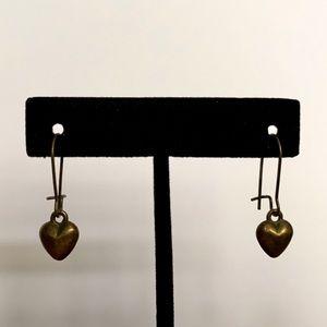 Brass Heart Dangle Earrings